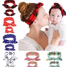 2PC/Set Mom Rabbit Ears <strong>Hair</strong> Ornaments Tie Bow <strong>Hair</strong> Hoop Stretch Knot Bow Cotton Headbands <strong>Hair</strong> <strong>Accessories</strong>