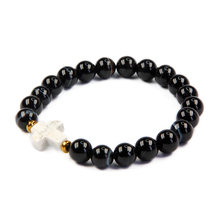 Lucky Black Agate Stone /Banded Onyx Bead Bracelet With Mini Cross
