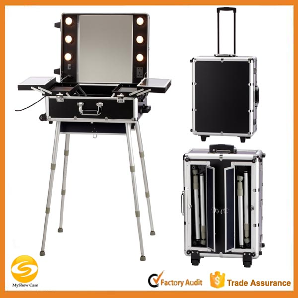Rolling Ligthed Makeup Artist Train Case with stand and mirrors,Aluminum Cosmetic trolley travel case with light and legs