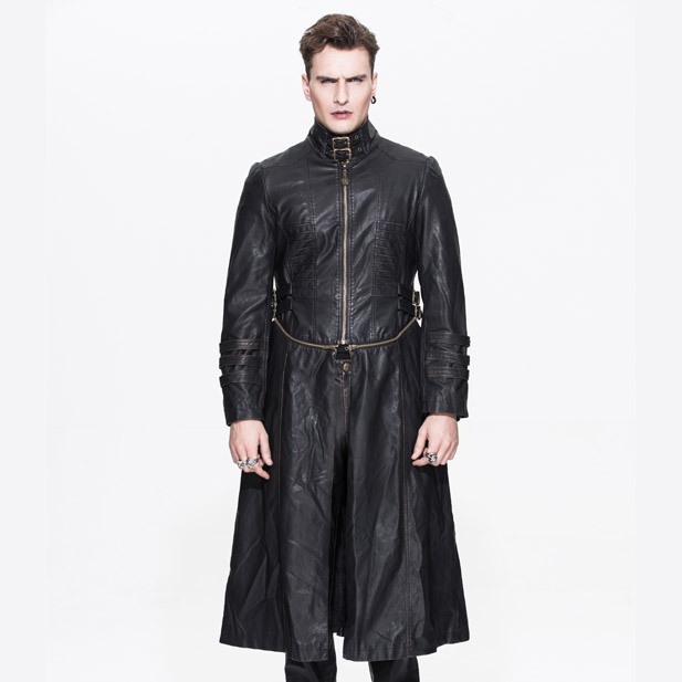 handsome men western style winter gothic leather long coat