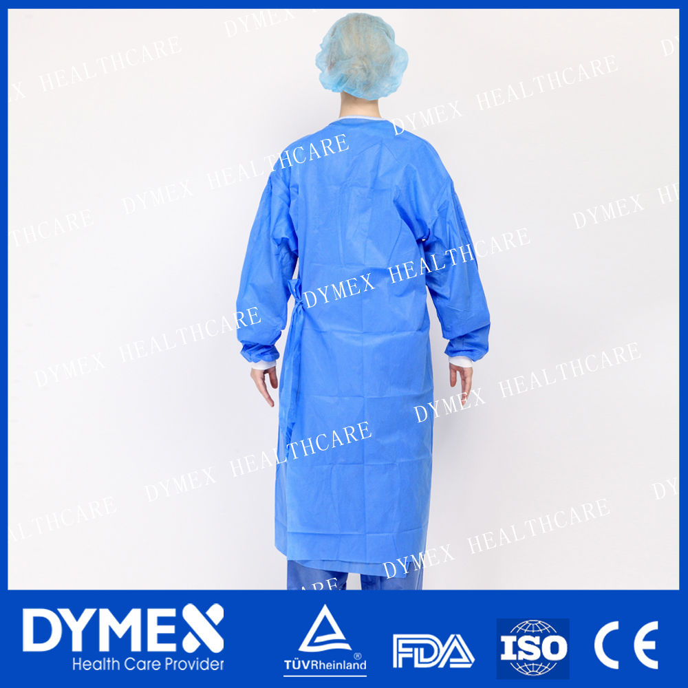 Reinforced sterile disposable surgical gown with fixed card