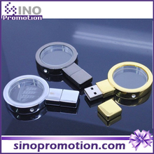 Magnifying glass metal usb flash drive 3.0, Gold and silver 128gb flash drive