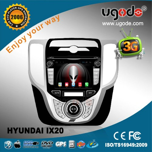 ugode high quality android quad core car dvd gps for hyundai ix20