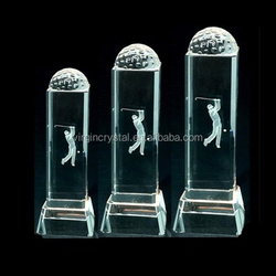 Golf sports awards crystal engraved golf player with golf ball on top rectangle block trophies for souvenirs