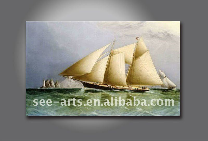 handmade ship and sea cenery view oil painting