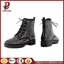 2016 New Arrival China Wholesale Hot Durable Zipper Glass Beads Black Short Boots Women Lace