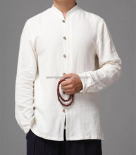 Hot sale long sleeve chinese collar white casual linen shirts with wooden buttons for men QR-4853