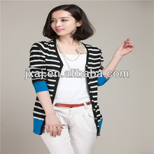 Han edition stripe splicing into new color skirt cardigan studs coat dress