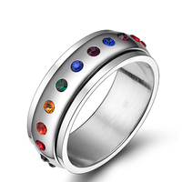 Top Grade Innovative Latest Design Rotational Band Rainbow Colorful Rhinestone Ring 316 Steel Stainless Jewelry