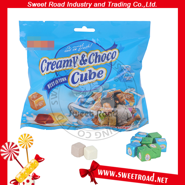 Hot sale Chocolate & Chocolate & Cream Cube Sweet Candy