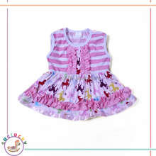 Cotton stripe dress ruffles bib horse partern pakistani children long frocks designs