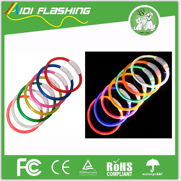 Wholesale Rechargeable PVC Waterproof LED Light Pet Dog Collars