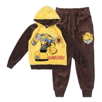 Boys Hoodies fashion Transformers shirt thick warm kids hoodies children long sleeve coat +pant for autumn and winter