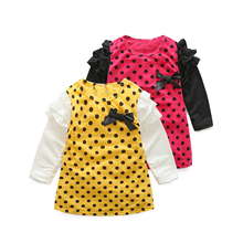 Latest fashion winter long sleeve color dots girl boutique party princess dresses for kids girls