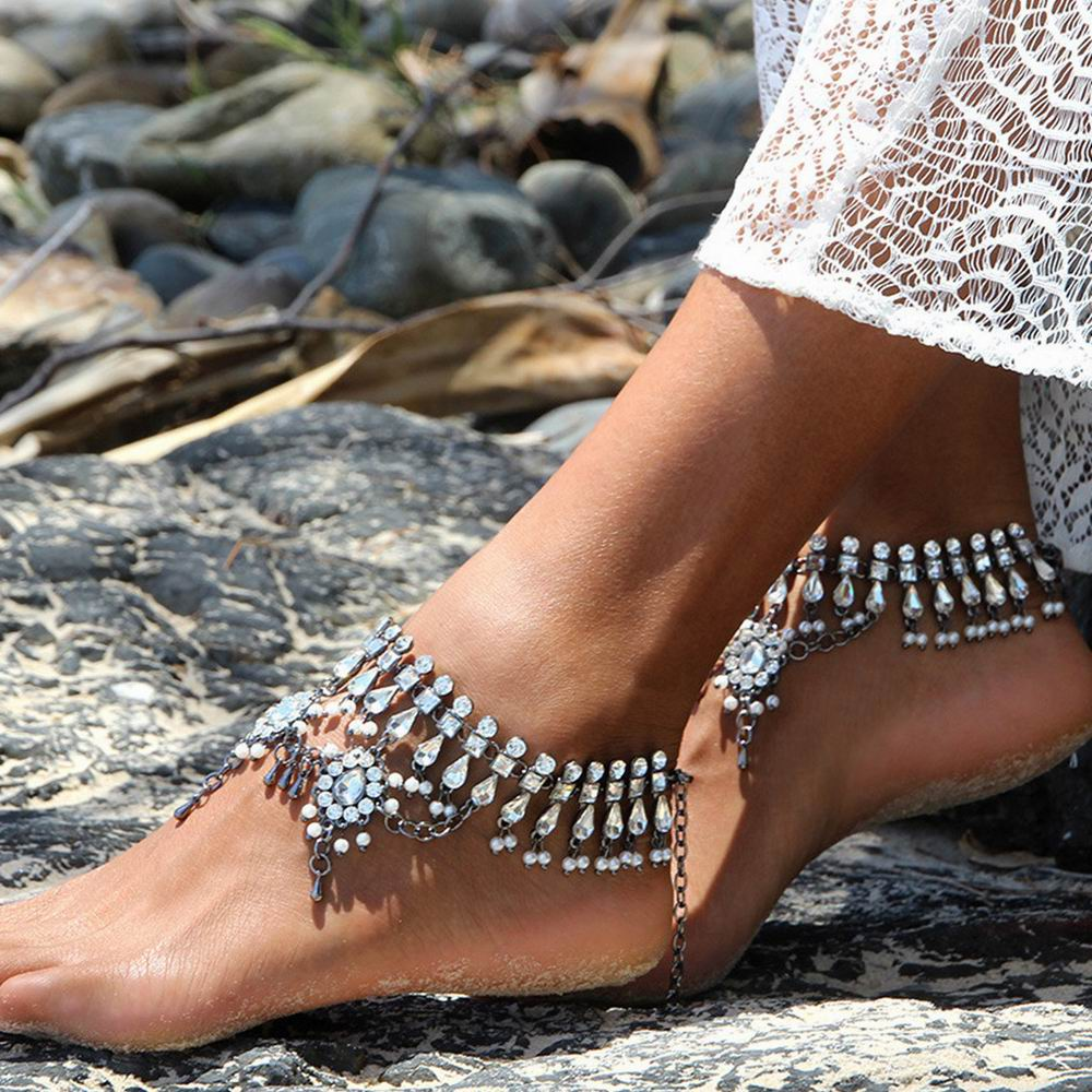 Luxury Rhinestone Crystal Tassel Anklets Chain Women Ankle Barefoot Sandals Fashion Beach Foot Jewelry Wholesale