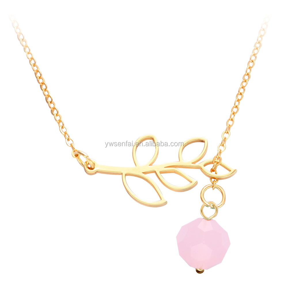Hot Sale Customized Gold Color Tree Leaf Branch Necklace for Ladies