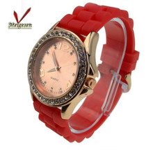Waterproof ladies watches stainless steel silicon diamond women watch