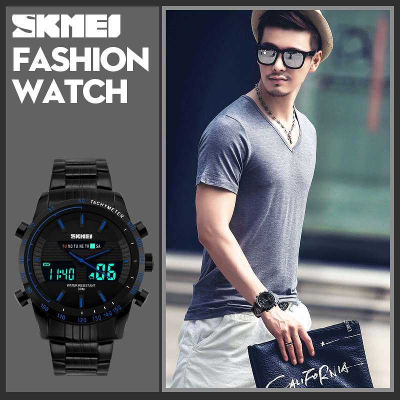 Night light stainless steel chain black color wrist watch digital quartz watch