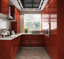2017 Modern Red High Gloss Lacquer Kitchen Furniture