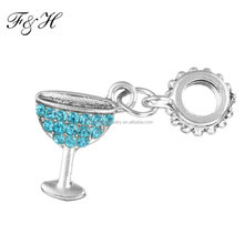 Wholesale Bead Dangle Cocktail Cup Silver Charms With Cubic Zirconia Fit Snake Chain Charm Bracelet