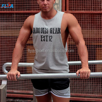 custom loose fit low cut sleeveless tank top men gym t-shirt