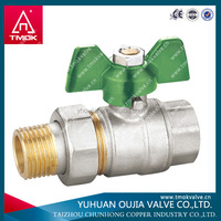 zhejiang 1/2 inch butterfly handle brass water ball cock valve with stainless steel mini ball valve