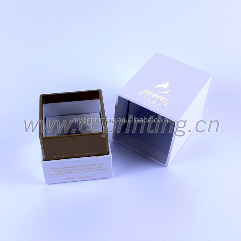 White gold foil embossed cosmetic paper box with EVA foam