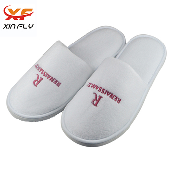 Comfortable 100% Cotton velour hotel slippers with Embroidery Logo