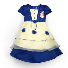 601 Blue kids clothes summer party wear fancy dress for girls