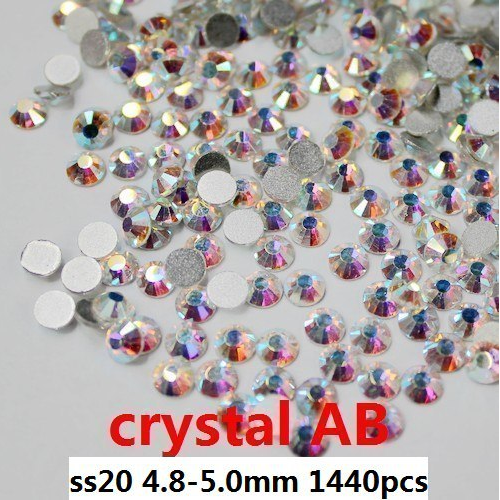 Glass Rhinestones 1440pcs ss20 4.8-5.0mm Crystal AB Non Hot Fix Loose Rhinestones For Nail Art Diy Scrap Booking Decoration
