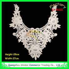 factory bottom price fancy chemical lace embroidery trims neck design lace for shirt