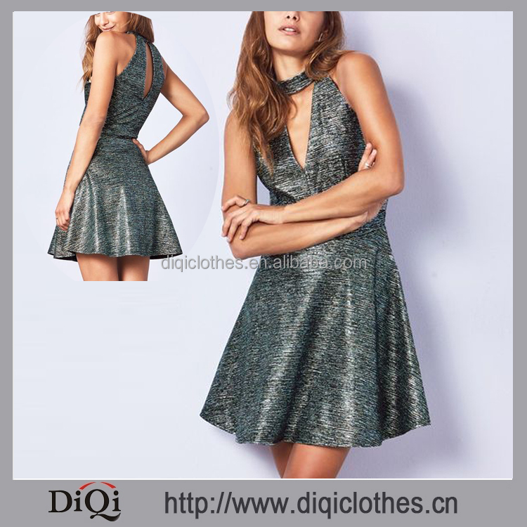 Wholesale Price Custom Made Sexy Prom Dresses High Fashion Metallic Choker Skater Dress