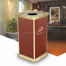 High-end Leather Covered Waste Bins High Level Hotel Lobby Dustbins Luxury Trash Cans ZD-0034-26