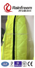 White polyester wadding teflon wear-resistant florescent yellow 300D oxford nylon PU coating waterproof side vent rainsuit