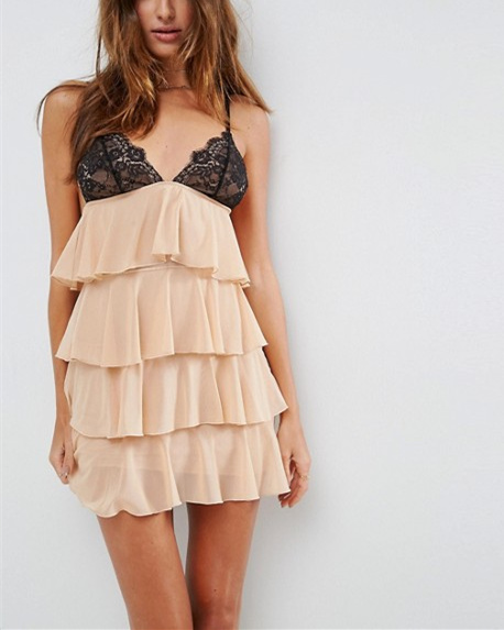 Tiered Ruffle Mesh Hot Bodydoll Dress Sexy Night Sleeping Dress for Honeymoon hsd2095