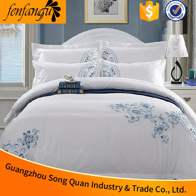 2016 hot sale new product 100% cotton embroidered hotel bedding set used in hotel embroidered duvet cover pillow cases