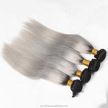 Silver Gray Color Ombre Human Hair Bundles Body Wave 1B/ Grey Ombre Brazilian Remy Hair Weave