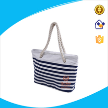 High quality stripe style canvas cotton tote bags with cotton rope handles