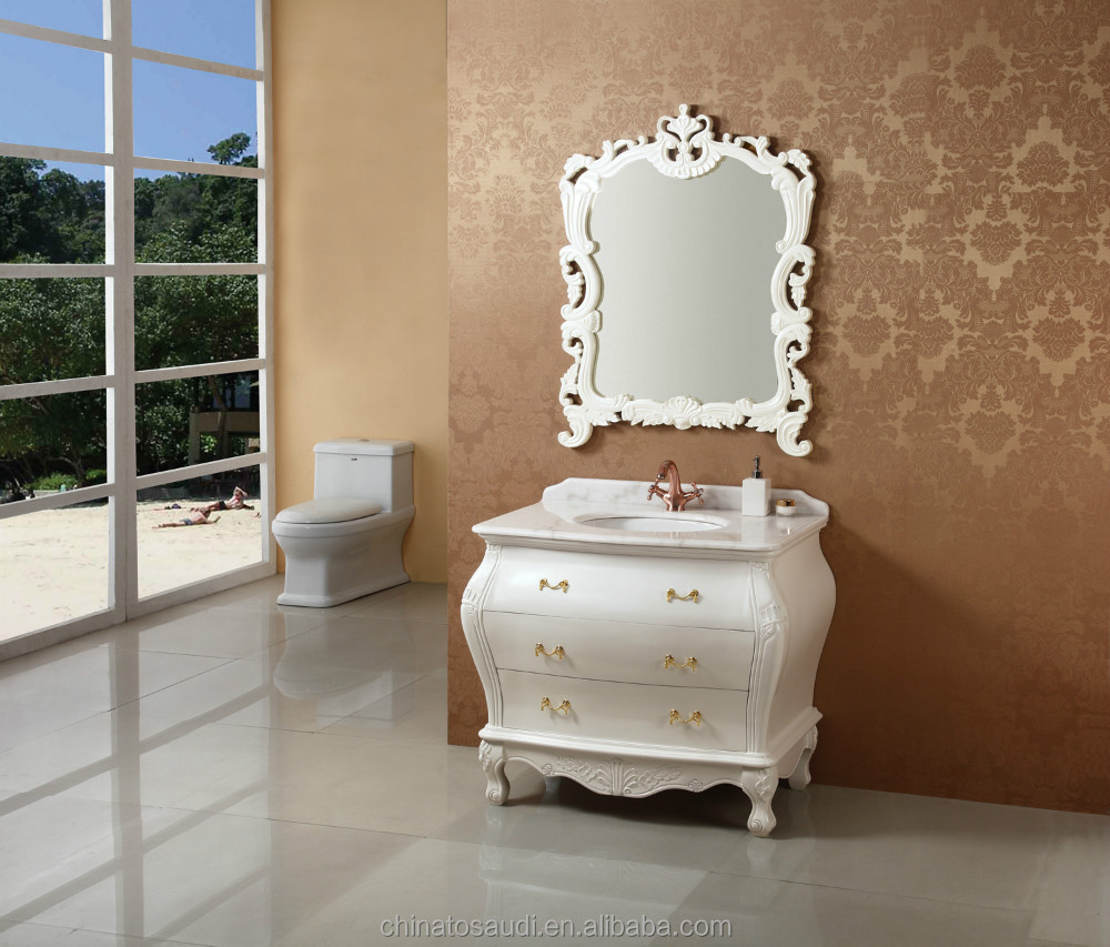 Fancy curved solid wood white double sink bathroom cabinet for sale