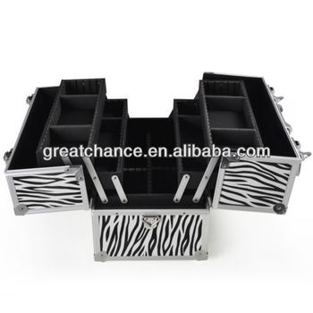 Aluminum Makeup Case Cosmetic Train Storage Trays Lock Jewelry Zebra