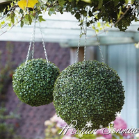 wedding wall backdrop high quality hanging artificial boxwood grass ball plastic flower ball for wedding decoration
