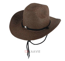 Wholesale mens summer outdoor western folding cowboy straw hats with sring
