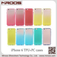 2014 MIROOS SHENZHEN stylish combo pc back cover and tpu bumper transparent silk-screen cellphone case for iphone 6