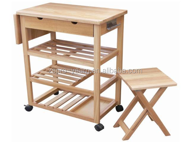 Multifunctional Wooden Kitchen Serving Trolley Cart and Foldable Chair Set with Foldable Table Board 4 Tiers 2 Drawers 4 Casters
