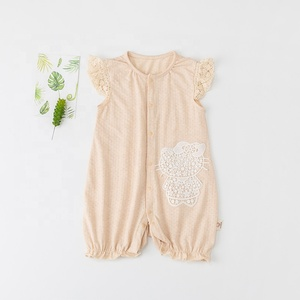 2019 spring summer hot jacquard fabric organic color cotton baby  short sleeved romper