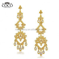 Wedding Long Earrings Yellow Gold Plated Chandelier Dangle Earring For Women Cubic Zirconia Accessories Ethnic Style Jewelry