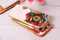 Wholesale Clear Compact Mirror Case For Iphone 6 With Metal Aluminum Bumper/Back Cover