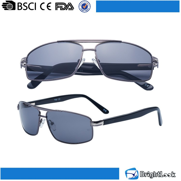 New trendy wide temple mans black metal high quality sunglasses