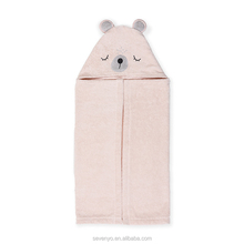 The Popular Gift for Baby, Orangic Cotton Bamboo Pink Bear Hooded Towel HDT-129 China factory wholesale