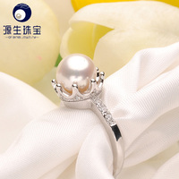 crown shape natual fresh water real pearl cheap engagement rings